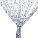 Vidillo Fadenvorhang, Fadenvorhang Glitzer weiss 300x300cm Wandvorhang Schaufensterdekoration, Dekorative Gardine Raumteiler Fliegenschutz für Hochzeit, Café, Restaurant (Grau)