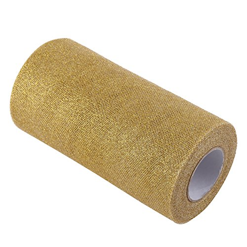 Glitter Tulle Rollenspule Pailletten Party Supplies funkelnde Pailletten Rollen für Hochzeit Dekoration oder Rock DIY Handwerk 25 Yards in Länge(Golden) -