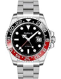 Parnis Modelo 2034- Reloj automático para caballero, negro y rojo, GMT, cristal de zafiro, bisel de cerámica, indicador de fecha, diámetro de 40 mm, acero inoxidable, 5 bar