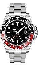 NEU! PARNIS Modell 2034 BLACK & RED GMT Automatik-Herrenuhr Edelstahl Ø40mm Saphirglas 5BAR Edelstahlarmband Markenuhrwerk Datumsanzeige