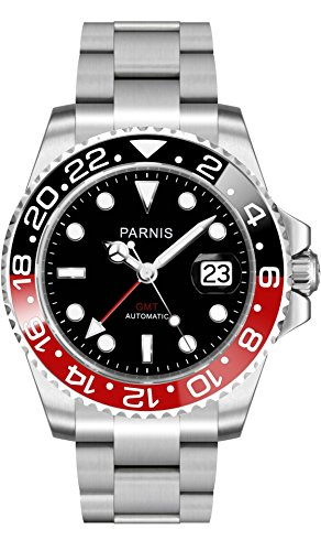 PARNIS Herren-Automatik-Uhr 2034 BLACK & RED GMT Automatikuhr mit Datumsanzeige, Edelstahlarmband und Saphirglas in 40mm - Herren-Armbanduhr (Spitze Applizierte)