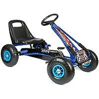 bopster - Go-Kart mit Pedalen und aufblasbaren Reifen Go-Kart-Fahren Kinder Jungen Outdoor Blau Schwarz