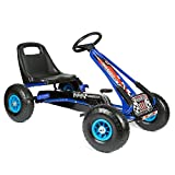 bopster Racing Pedal Outdoor Go Kart with Inflatable Wheels 5-8 Years - Blue & Black