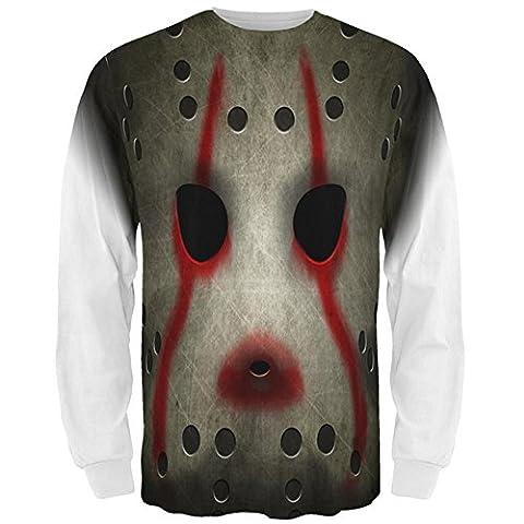 Halloween Horror Film Hockey Maske Kostüm aller Mens Long Sleeve T Shirt Multi LG (Music Man Film Kostüme)