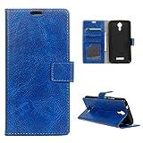 Acer Liquid Zest Plus Handyhülle, CaseFirst Stoßfest Lederhülle Premium Handyhülle Ultra Dünn Schutzhülle Kratzfest Hülle mit Card Slots Wallet Case für Acer Liquid Zest Plus (Blau)