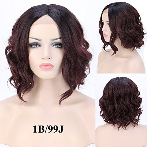 S-noilite Lace Front Ombre Bob Wigs Medium Long Straight Dark Root Black Style Heat Resistant Synthetic Hair Wig for Women Ladies Natural Look