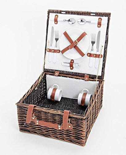 Picknickkorb Für 2 Personen aus Weide - Inklusive Umfangreichem Zubehör Set - Picknick Korb mit Deckel & Geschirr - 12 tlg. Set