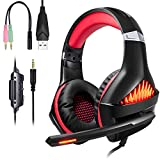 Casque Gaming PS4 PC Xbox One Switch, Samoleus Casque Gamer avec Micro Anti Bruit LED Lampe 3.5mm Audio Surround pour Xbox One, PS4, Laptop, Smartphone, Playstation 4