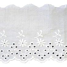 Baumwollspitze weiss mit Bl/ümchen Stickerei 105 mm