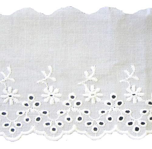 Baumwollspitze weiss mit Blümchen Stickerei 85 mm