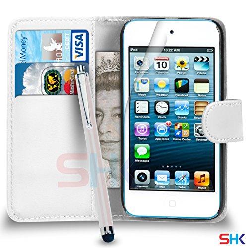 Apple iPod Touch 5 Weiß PU-Leder-Mappen-Schlag-Fall-Abdeckungs-Beutel + Big Stylus Pen + Screen Protector & Poliertuch VON SHUKAN (Big Ipod Screen Touch)