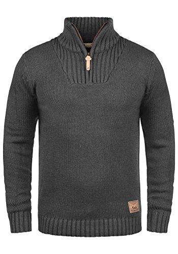 !Solid Petro Herren Winter Pullover Strickpullover Troyer Grobstrick mit Stehkragen und Reißverschluss, Größe:S, Farbe:Dark Grey Melange (8288)