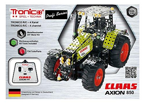 RC Traktor kaufen Traktor Bild 1: Tronico 10058 - Metallbaukasten Traktor Claas Axion 850 mit Fernsteuerung, Profi Serie, Maßstab 1:16, 734-teilig, grün*