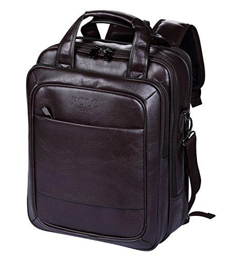 Imagen de videng polo  para portátil cuero negocio viajar colegio pantalón para 13 15 17 pulgadas marrón v4