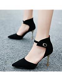 Xue Qiqi Astuce-lumière d'épaisseur en satin high-heeled shoes sandales sangle unique sauvage femme,36, noir