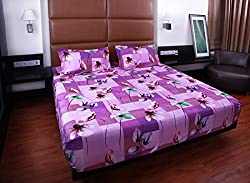 Bombay Dyeing double bedsheet with 2 pillow covers-Floral Fiesta-Purple