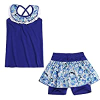 Freebily Girls 2 Pieces Summer Clothes Set Sleeveless Floral Vest + Culottes Outfits Blue 5-6 Years