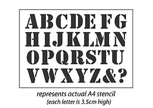 Alphabet Lettres A-Z Police 'Stencil'murale/meubles/Craft Pochoir A4