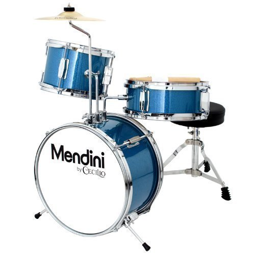 Mendini by Cecilio 13 Inch 3-Piece Kids / Junior Drum Set with Adjustable Throne, Cymbal, Pedal & Drumsticks, Metallic Blue, MJDS-1-BL