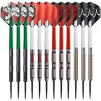 Red Dragon Dartpfeile – Profi Steeldarts oder Softdarts Set mit Metallspitze oder Kunststoffspitzen – 12 x Darts Pfeile mit Flights und Schäfte