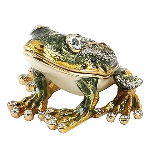 'Treasured babioles–Assis Grenouille Vert Boîte à bijoux en métal moulé