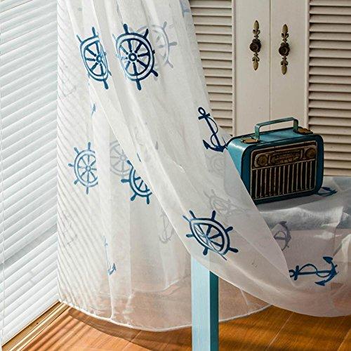 Gardinen Vorhänge Gardinen Blau und weiß Stickerei Mittelmeer- Kind Junge Tüll-Fenster Voile Vorhänge Fenstersiebung zum Fertiges Produkt Haken oben Ein Panel , 1pc(300*270 - Jungen Vorhang-panels