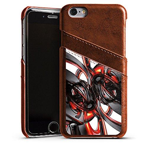 Apple iPhone 4 Housse Étui Silicone Coque Protection Strudel Vernis Brillance Étui en cuir marron