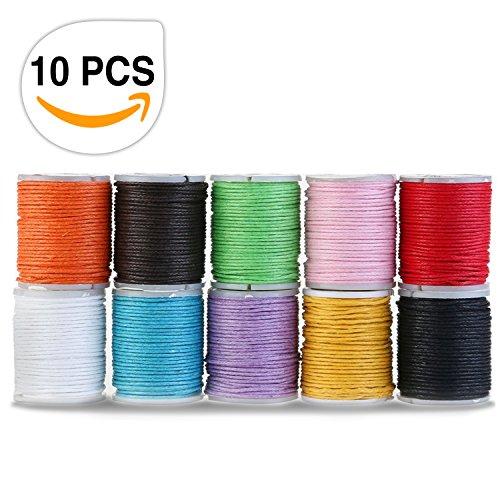 Baumwollschnur, Samione Gewachste Baumwoll schnur Wachsband Baumwollkordel für DIY Schmuck Handwerk machen 10M 1MM (10 Farben )
