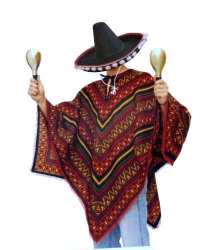 Bunter Poncho und schwarzer Sombrero im Set - Mexikaner Kostüm