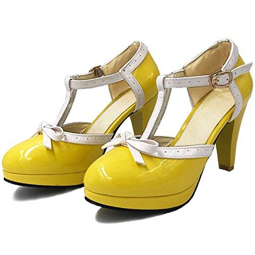 TAOFFEN Femme Elegant Bride T Bout Ferme Sandales Talon Aiguille Escarpins Ete Avec Bow yellow