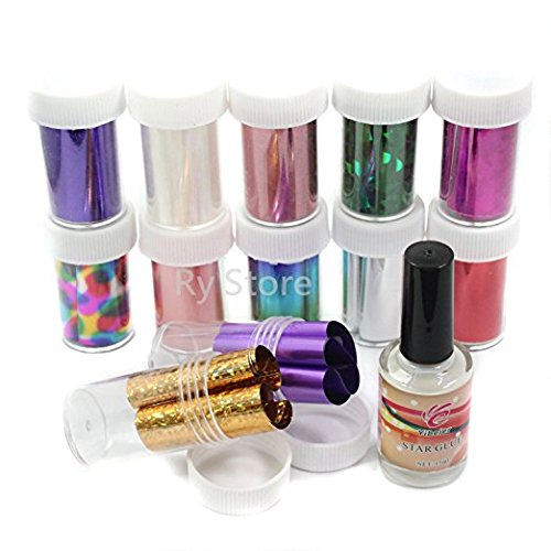 Professional 12 Mix Star Muster Fashion Design Glitzy Transfer Nail Art Folie Rolle (Art Transfer Nail Folie)