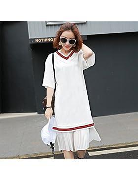 Elegante y relajado coreano delgado de vídeo V-cuello viste como Susy Nagle chiffon faldas,M,blanco