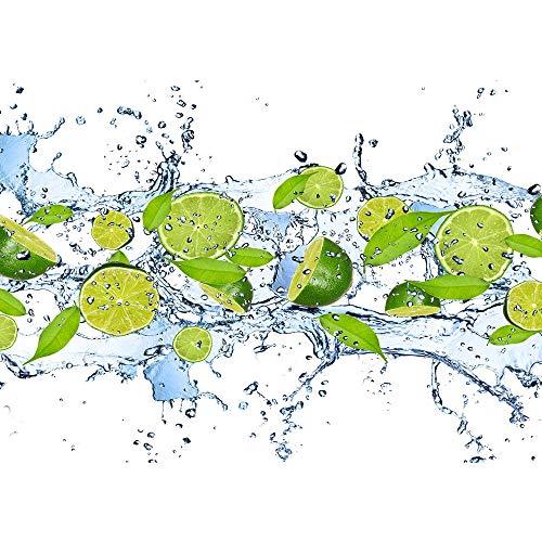 Vlies Fototapete 350x245 cm PREMIUM PLUS Wand Foto Tapete Wand Bild Vliestapete - Kulinarisches Tapete Limetten Wasser Blätter Tropfen Obst Frucht grün - no. 864 -