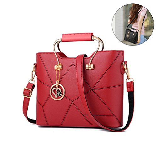 Vbiger PU-Lederhandtasche Klassische Schultertasche Trendige Kuriertasche für Damen Rot