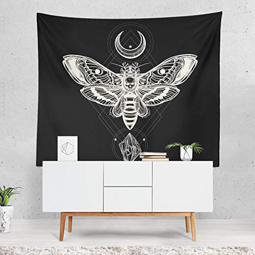 prz0vprz0v Halloween Wall Art, Skull Tapestry, Moth Art, Halloween Decor, Skull Decoration, Crystal Art, Gift for Halloween, Butterfly, Moon Decoration 40