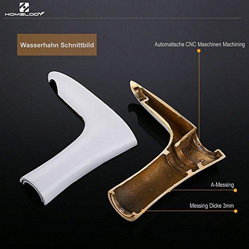 Homelody – Elegante Waschbecken-Armatur, Einhebelmischer, ohne Ablaufgarnitur, SoftClosing, Weiß-Chrom - 4