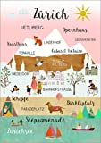 Poster 70 x 100 cm: Zürich Collage Schweiz von GreenNest -