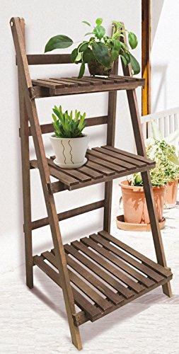 Holz Pflanztreppe mit 3 Ablagen - klappbare Pflanz Etagere - Blumentreppe für Innen und Außen