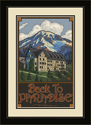 Northwest Art Mall pal-1033 mfgdm Mount Rainier National Park Paradise Inn gerahmtes Wandbild Art von Künstler Paul A. lanquist, 13 von 40,6 cm -