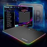 Tronsmart RGB Alfombrilla de Ratón de Juego Gaming 385mm x 310mm x 0.22mm Conexión USB e Impermeable para Ratón, Compatible para Gamers Jugadores de PC & Mac (Negro)