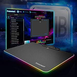 Gaming Mauspad mit Treiber LED Lichteffekt definieren, Tronsmart RGB Mousepad rutschfest mit 9 Beleuchtungsmodi, 35,5 x 25,5 x 0,4 cm USB Gaming Mauspad für PC Spieler