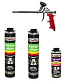 SET Pistolenschaum 2 Dosen 750 ml Montageschaum 1K Bauschaum PU-Schaum + 1 Reiniger + 1 Schaumpistole