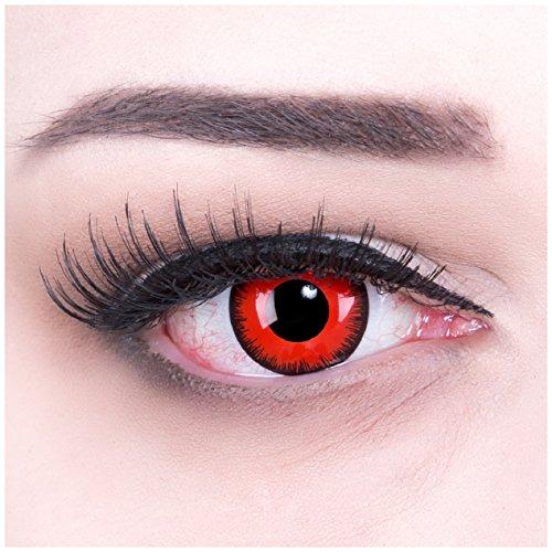 Lenti a contatto colorate red lunatic + 4capsule di sangue finto + contenitore di funnylens, morbide, non corrette, in confezione da due: perfetto per halloween, carnevale, o carnevale