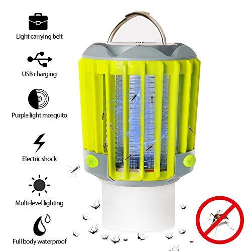 Phiis Campinglampe LED Laterne Elektrische Wanze Zapper & Camping Laterne & Taschenlampe 3 IN 1, IP67 Regenschutz Zelt Lichter Mosquito Killer über USB-Aufladung für den Außenbereich und Notfälle