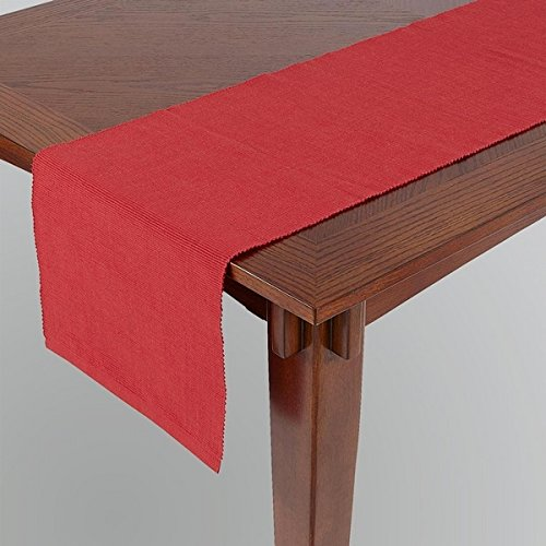 Dhrohar Ribbed Cotton Table Runner - Maroon - 4 Seater