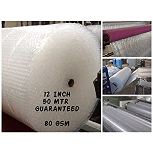 Tclpvc Brand Best Quality Bubble Wrap Packing Material 50 Meter 12 Inch 70 GSM Solid Transparent (BE Original with TCLPVC (Global) Store Made in India Packing Paper and Product Product Code 136