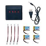 Ionlyou 4 x Akkus Batterie für JJRC H36 / E010 / NH010 Drohne 3.7V 150MAH Lithium Polymer