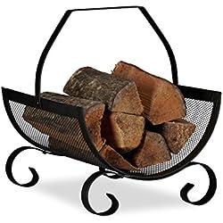 Relaxdays Panier à bûches bois de cheminée porte-revues porte-journaux acier métal HxlxP: 40 x 33 x 38 cm, noir