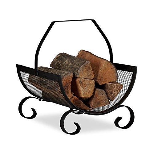 Relaxdays Cesto porta legna da camino nero contenitore grande culla per legname metallo HxLxP 40 x 33 x 38 nero