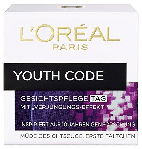L\'Oreal Paris Youth Code Tagespflege, mit Verjüngungs-Effekt, spendet Feuchtigkeit und glättet die Haut, 50 ml